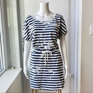 ONLY Navy & White Blotted Striped Dress
